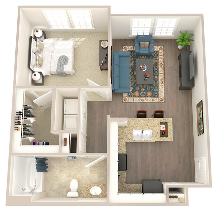 Provision at North Valentine - Floorplan - One Bedroom