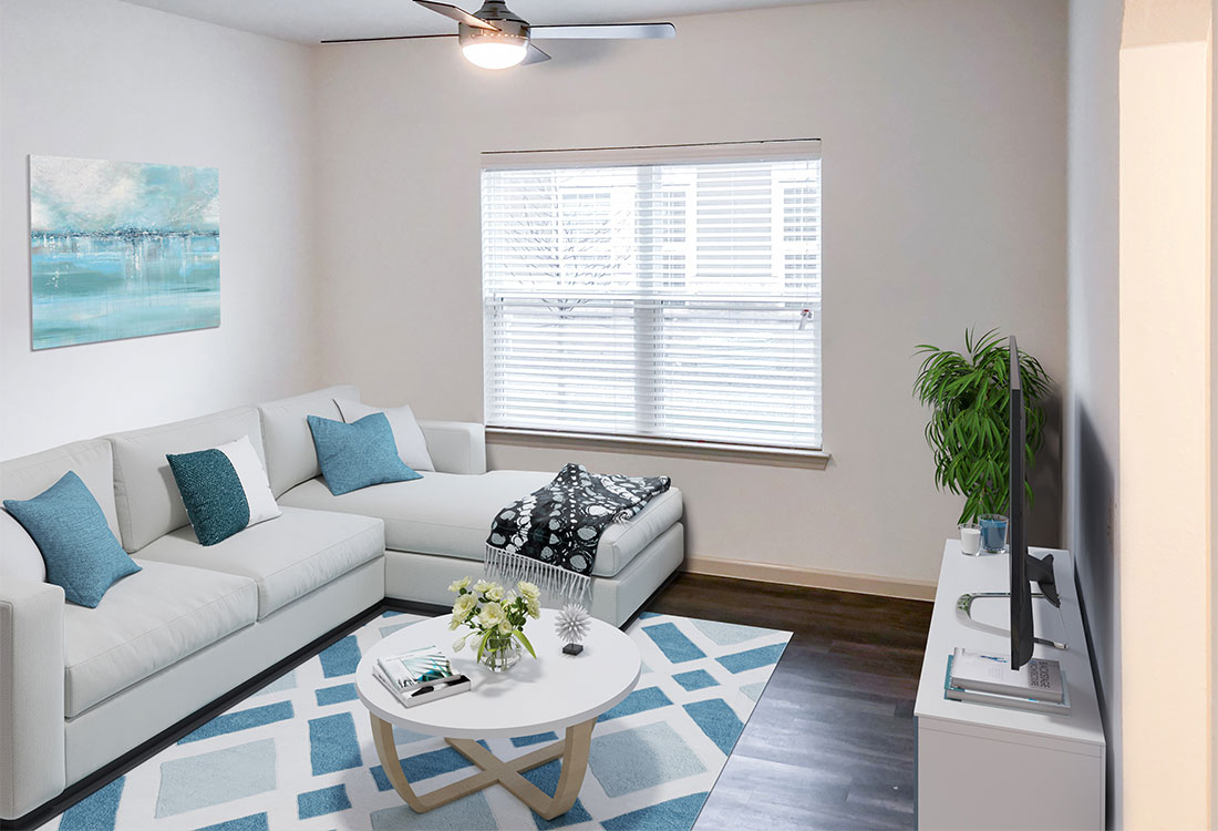 Spacious Living Room at Provision at North Valentine Apartments in Hurst, Texas