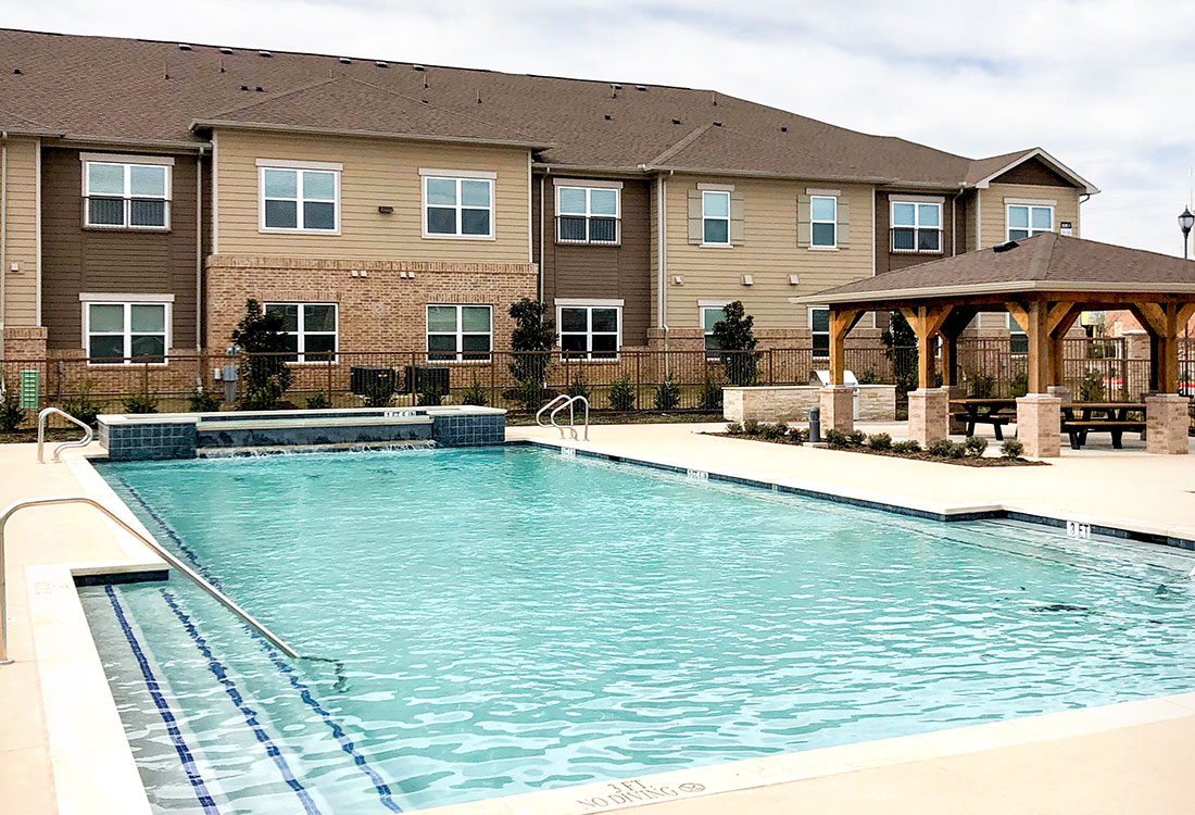 Luxury Swimming Pool at Provision at North Valentine Apartments in Hurst, Texas