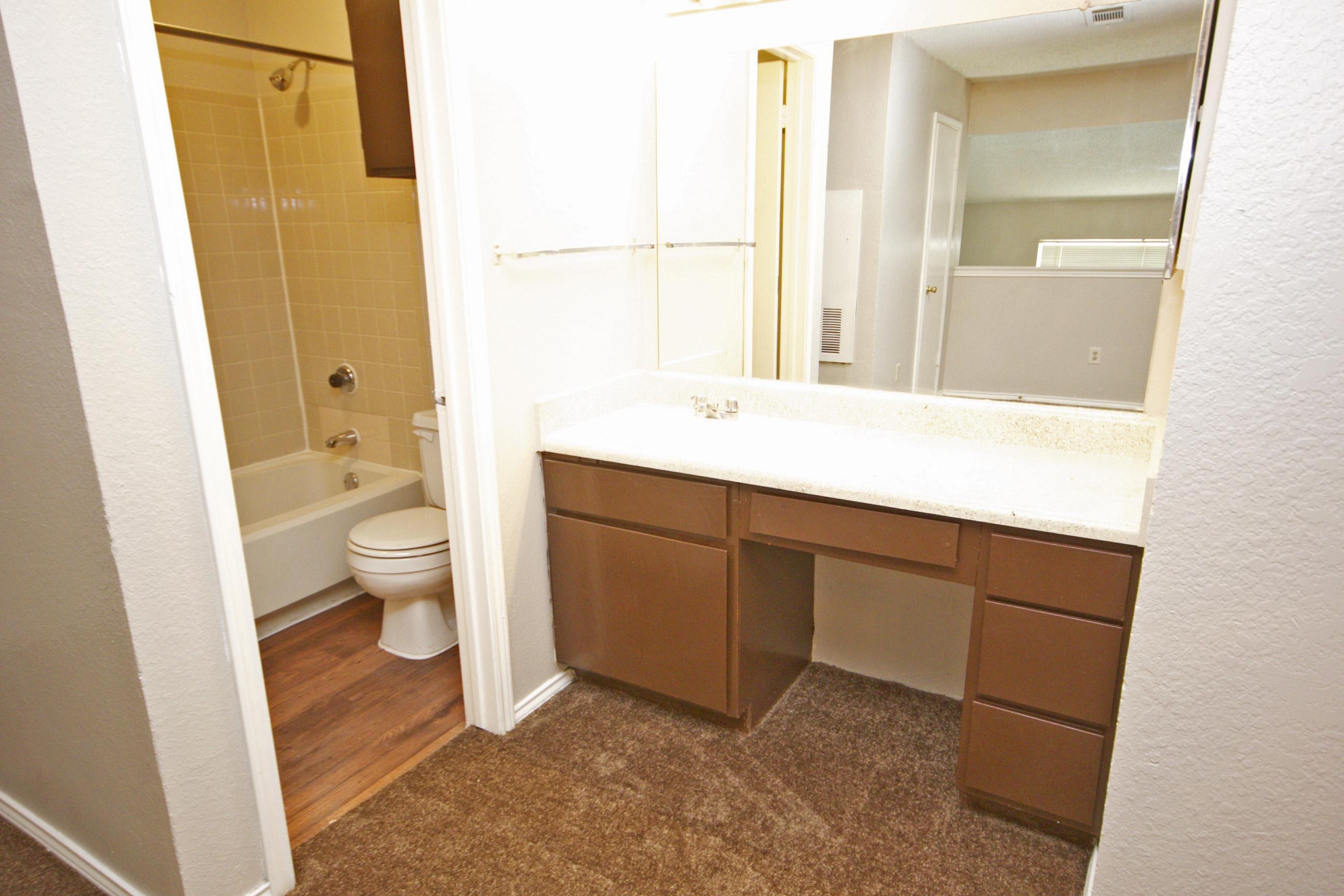 Shower and Bathtub Combination at Quail Ridge Apartments in Grand Prairie, Texas