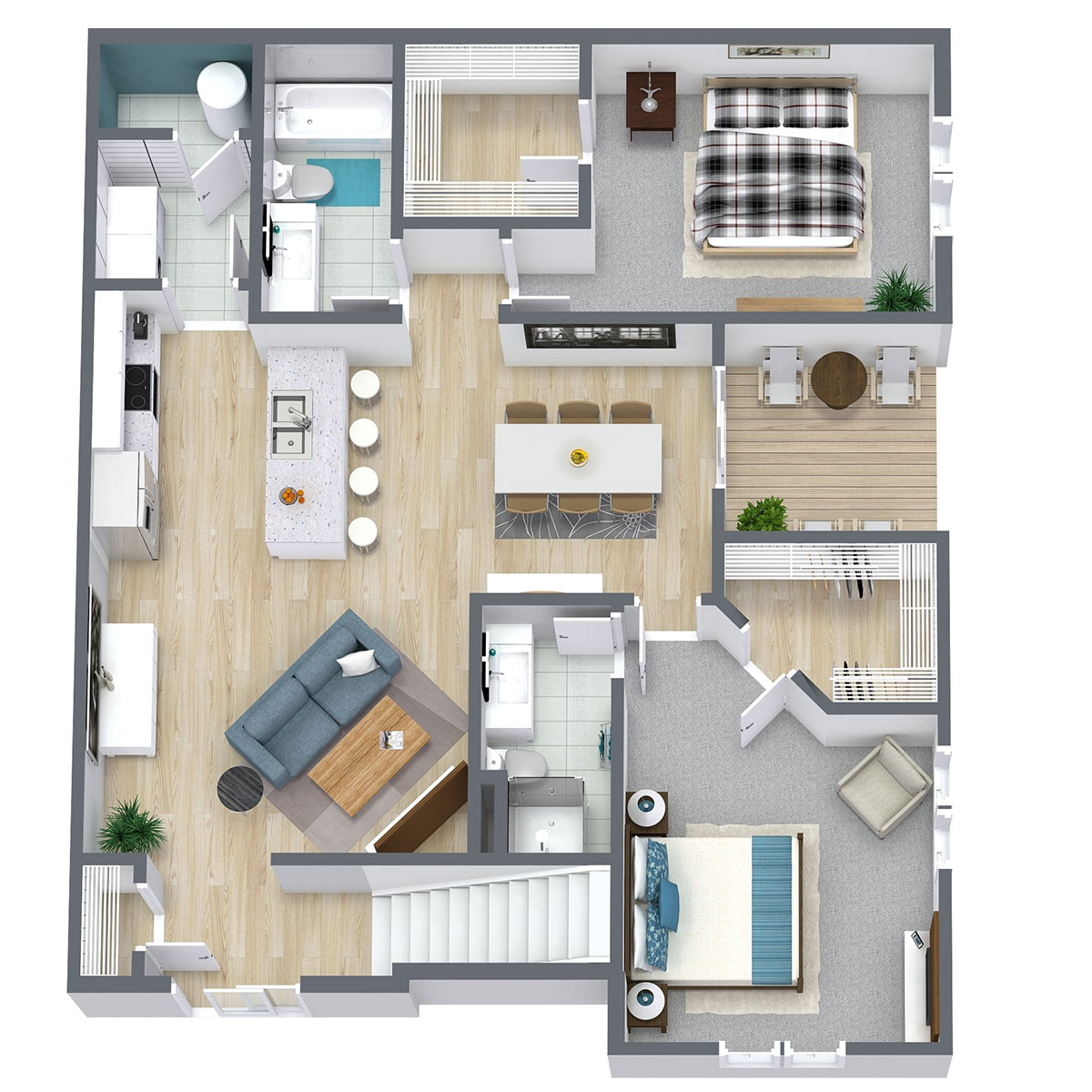 Floorplan - Two Bed Two Bath 1174 image