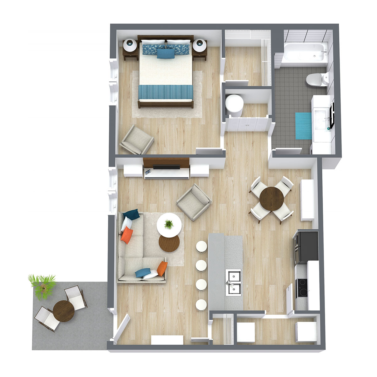 Ravello 192 - Floorplan - One Bed One Bath 690