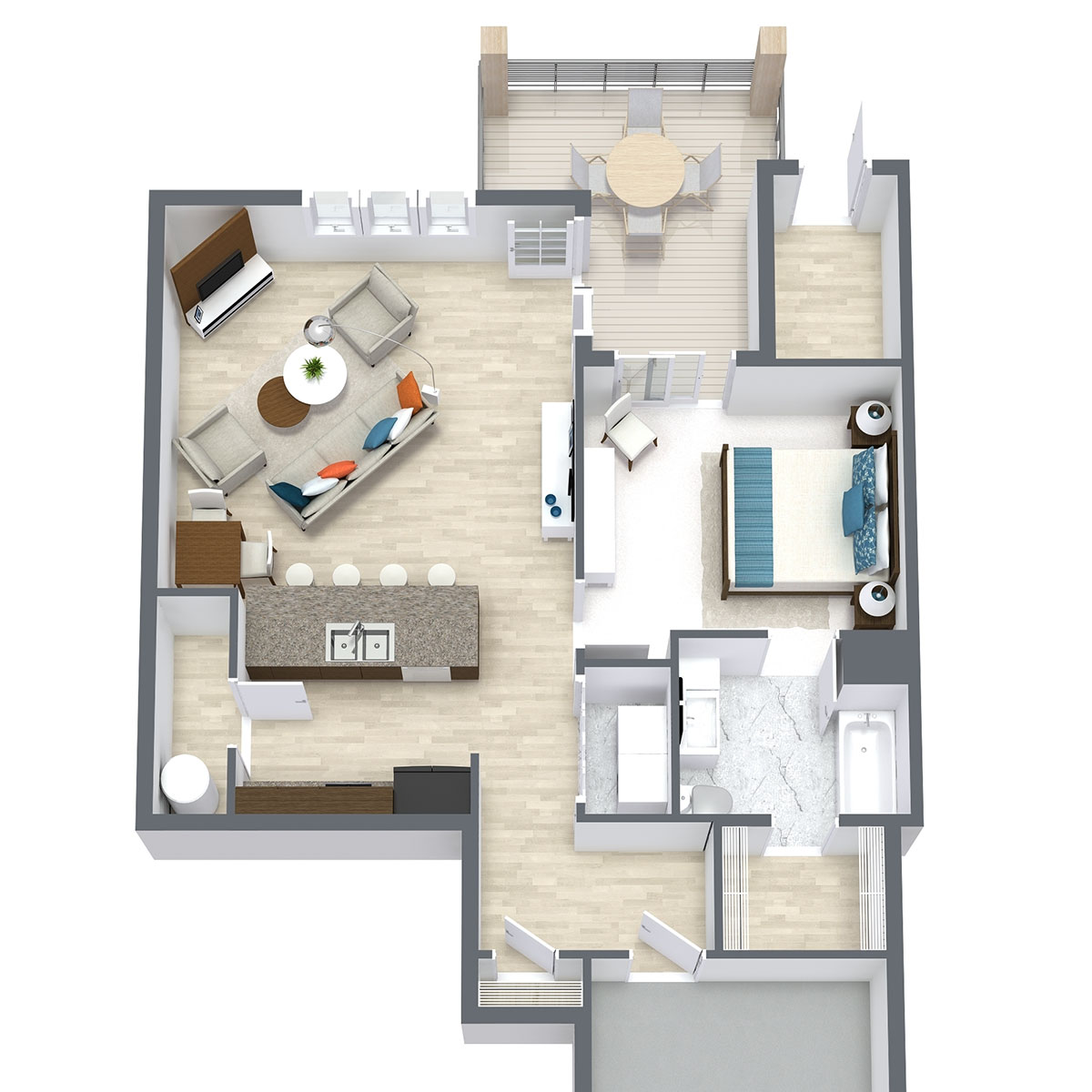 Floorplan - One Bed One Bath 787 image
