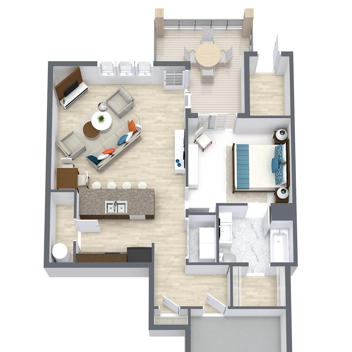 Ravello 192 - Floorplan - One Bed One Bath 787