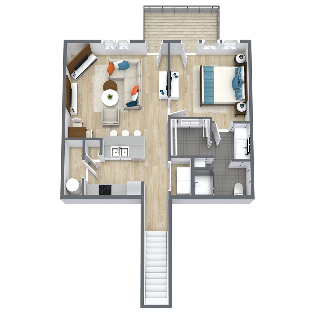 Floorplan - One Bed One Bath 851 image