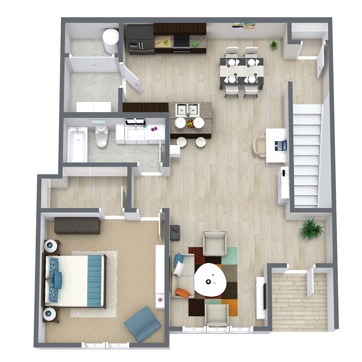 Ravello 192 - Floorplan - One Bed One Bath 959