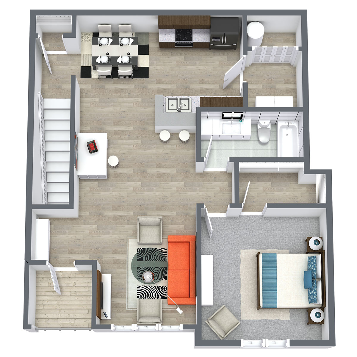 Ravello 192 - Floorplan - One Bed One Bath 964