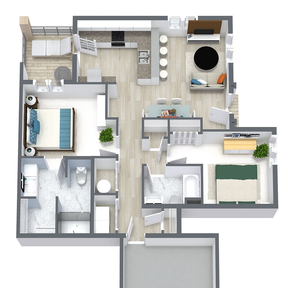 Ravello 192 - Floorplan - Two Bed Two Bath 1076