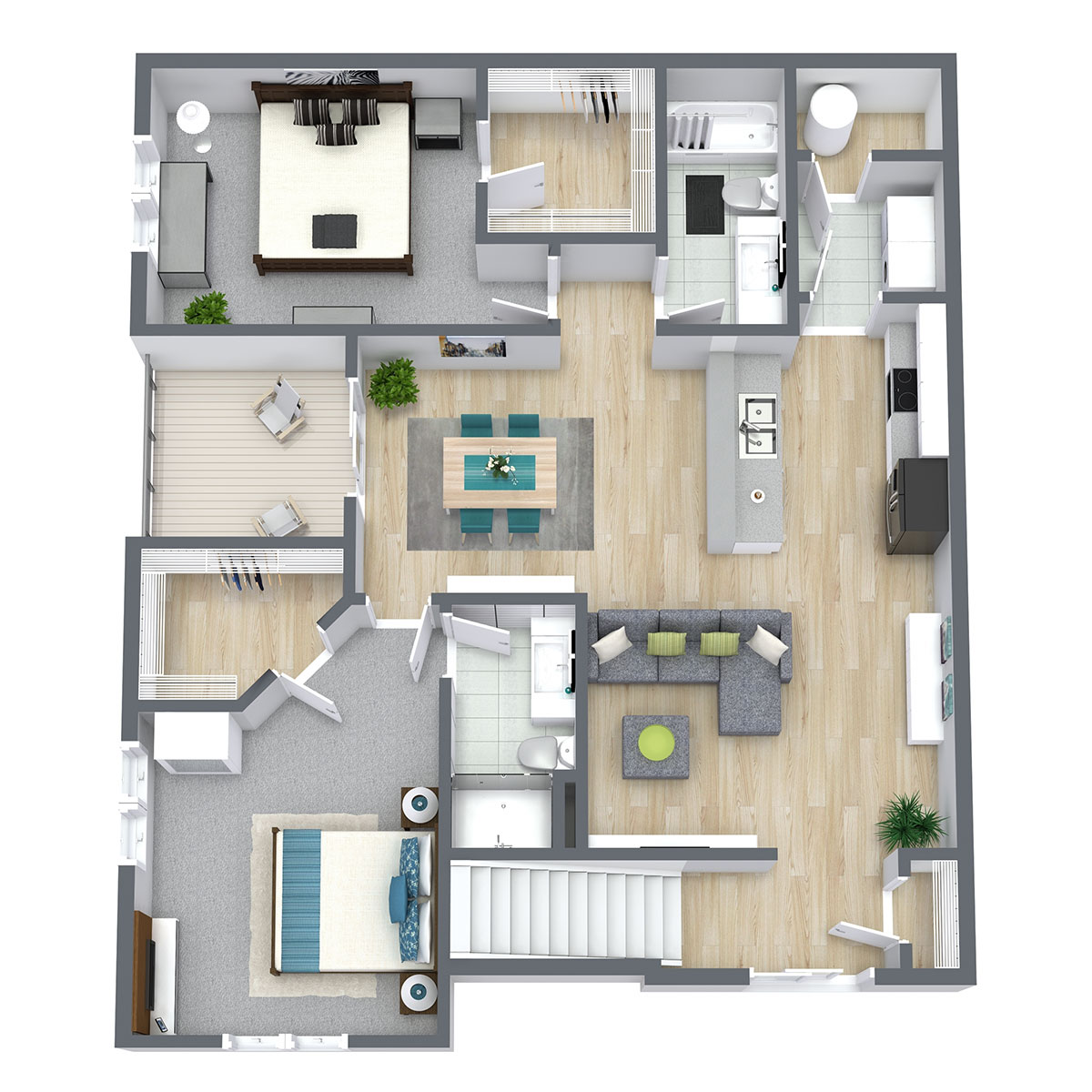 Floorplan - Two Bed Two Bath 1170 image