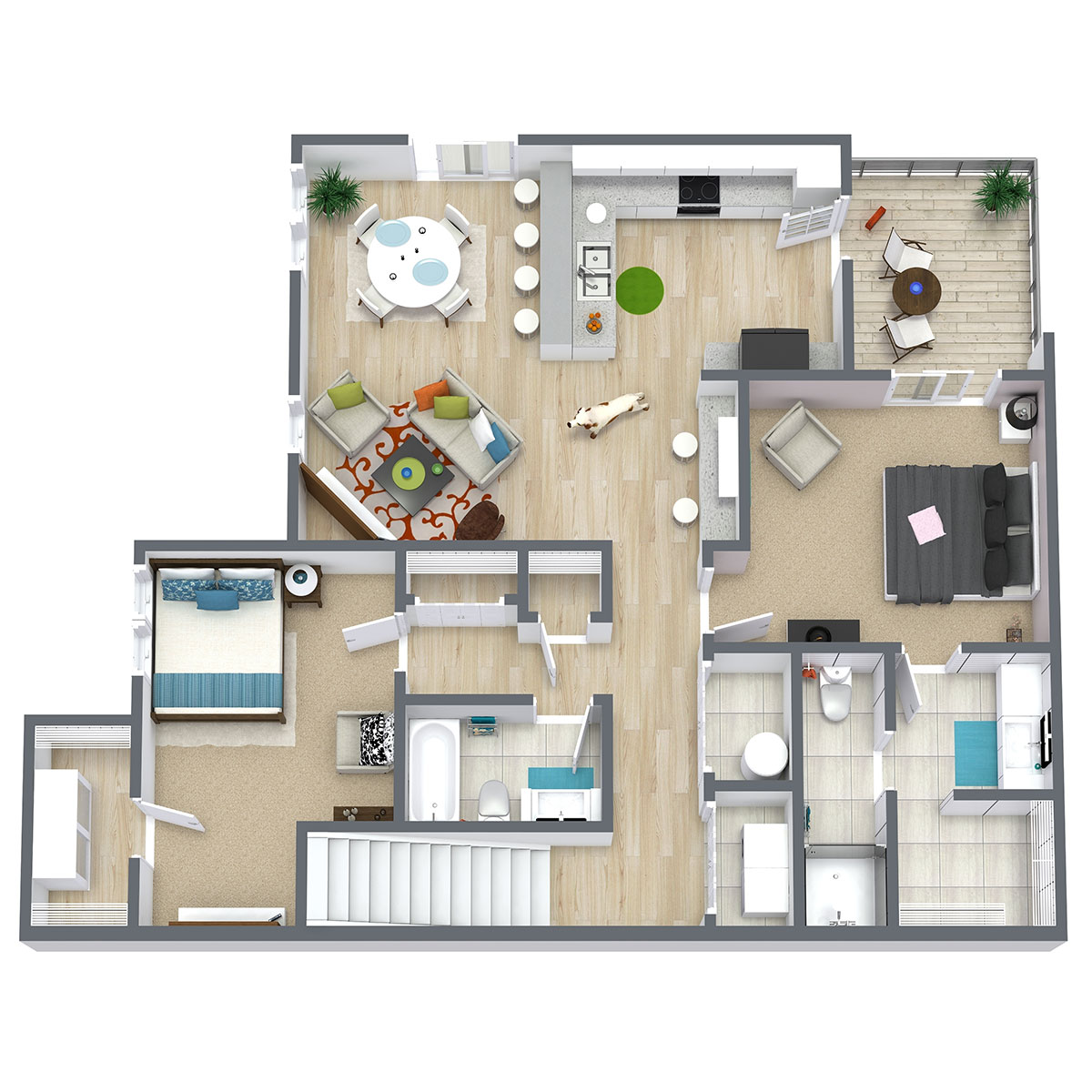 Floorplan - Two Bed Two Bath 1192 image