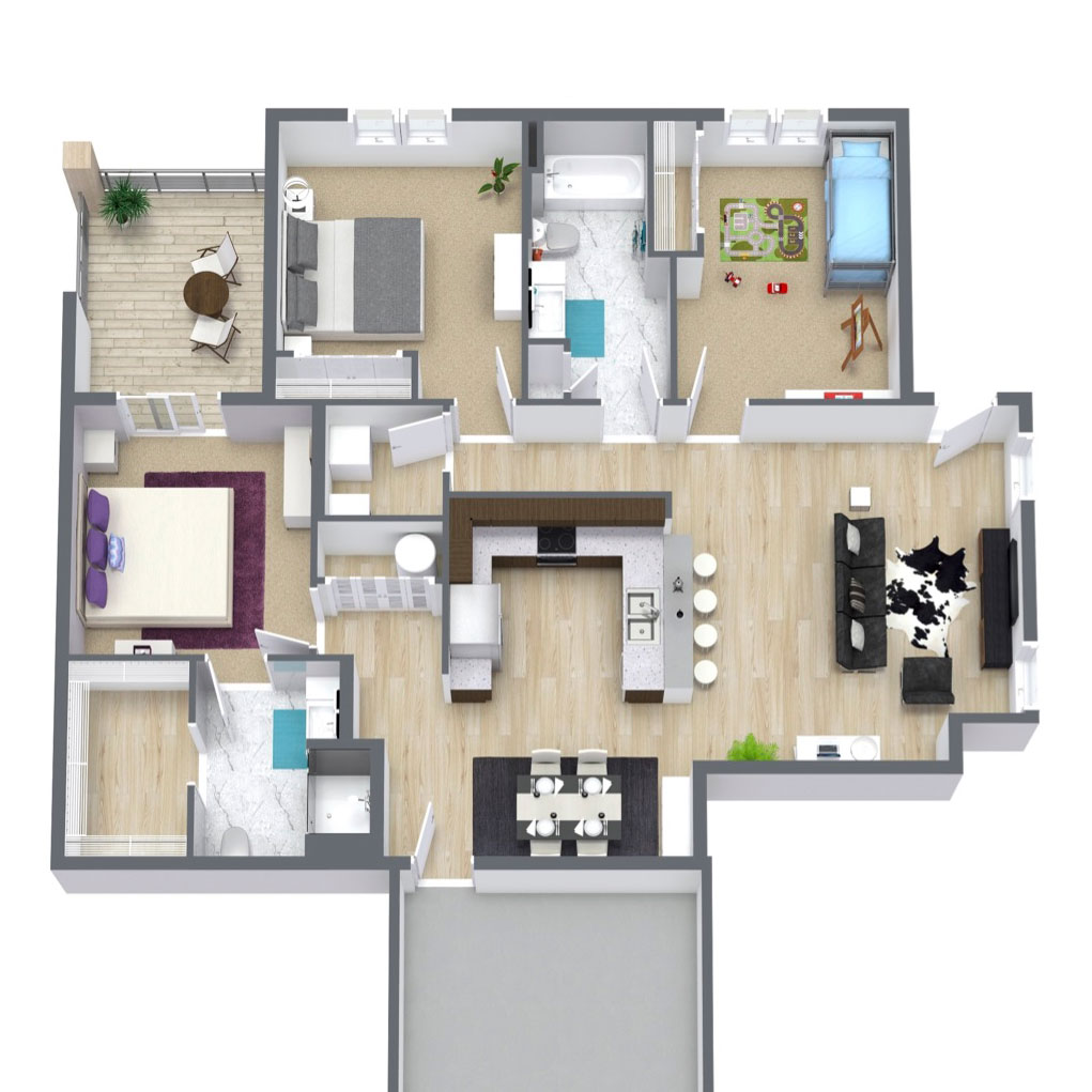 Ravello 192 - Floorplan - Three Bed Two Bath 1353