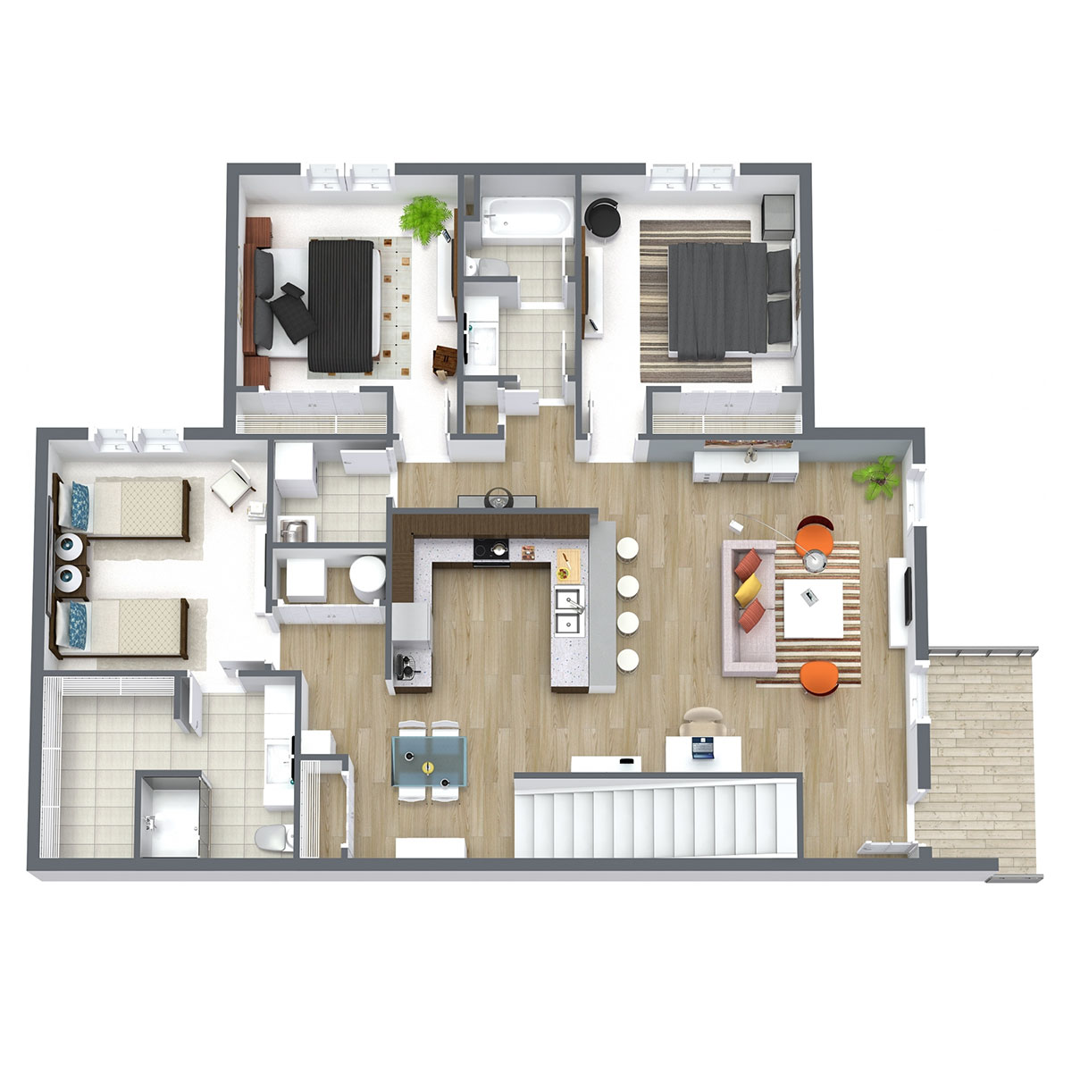 Ravello 192 - Floorplan - Three Bed Two Bath 1432