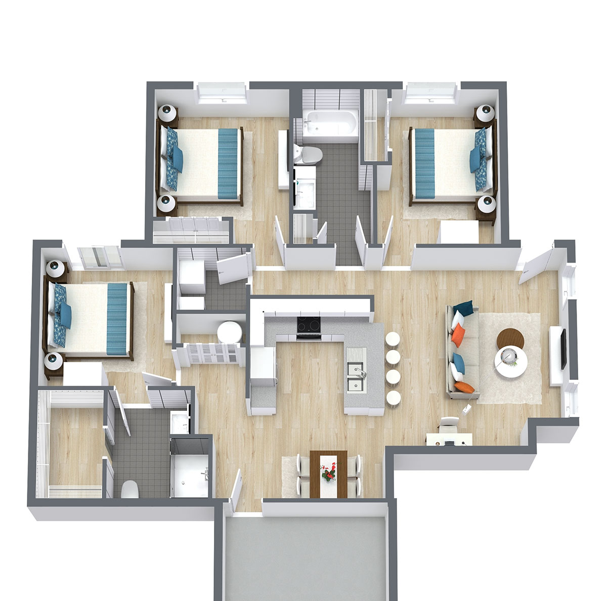 Floorplan - Three Bed Two Bath 1353 image