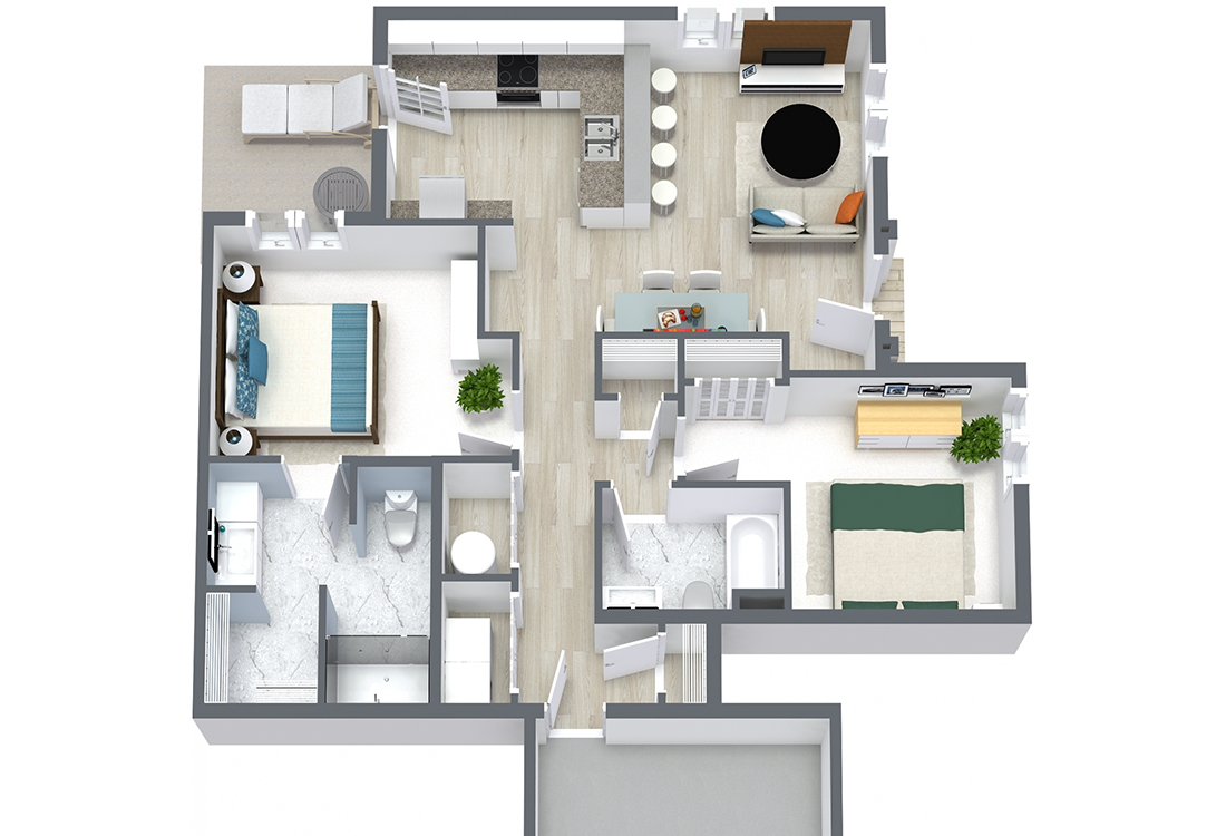 Floorplan - Two Bed Two Bath 1076 image