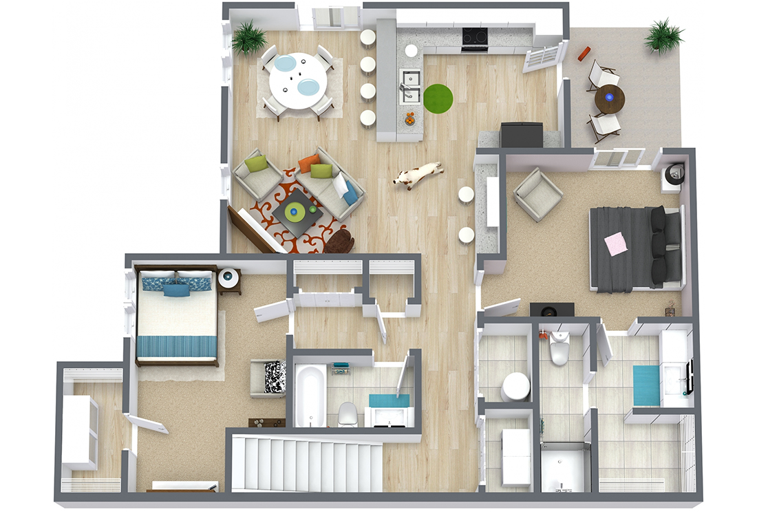 Floorplan - Two Bed Two Bath 1080 image