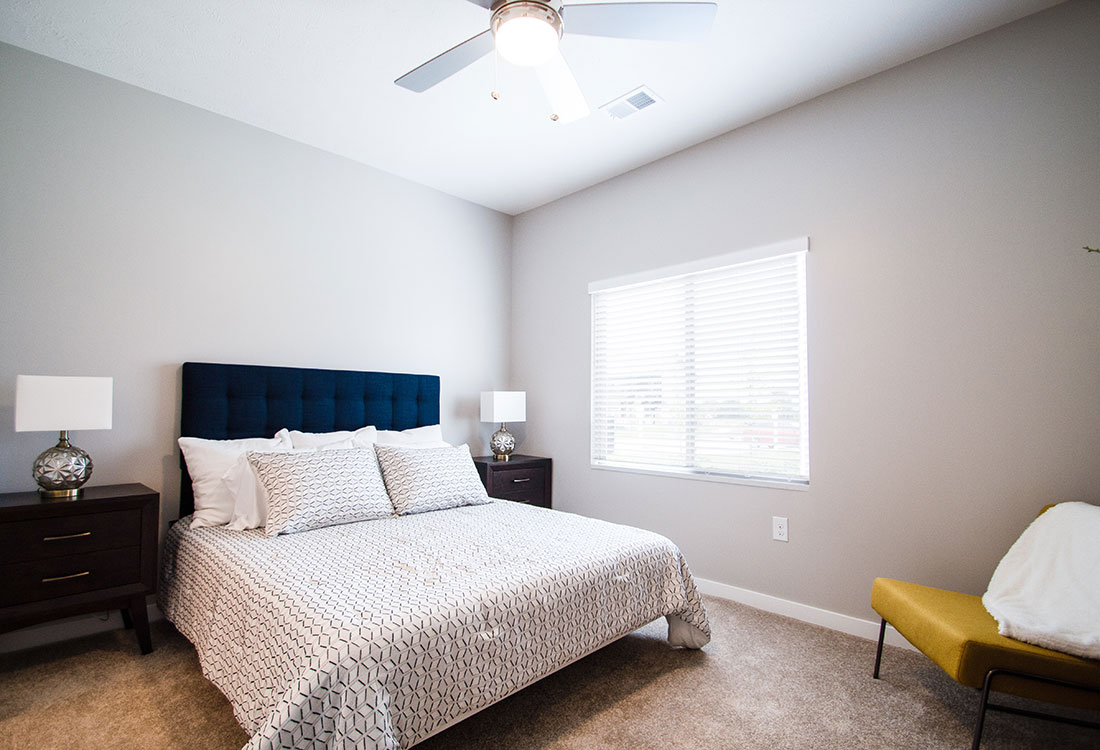 Bedroom with Overhead Ceiling Fan at Ravello 192 in Elkhorn, Nebraska