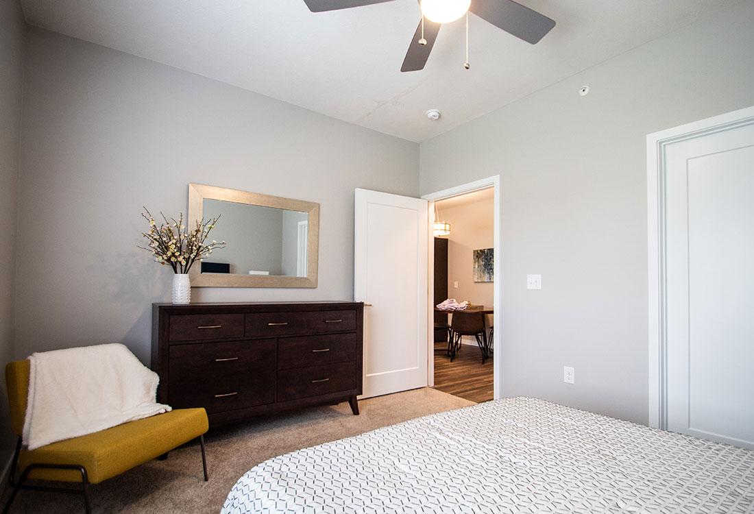 Bedroom with Overhead Ceiling Fan at Ravello 192 in Elkhorn, Nebraska