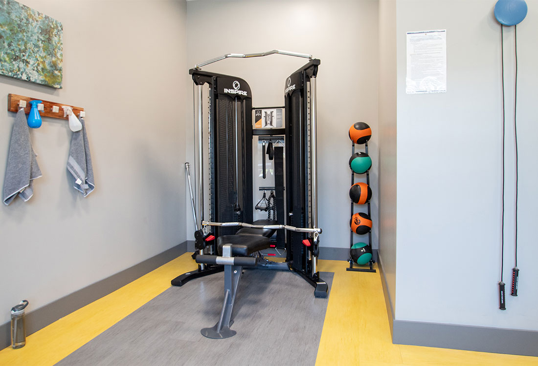 Fitness Center with Strength Equipment at Ravello 192 in Elkhorn, Nebraska