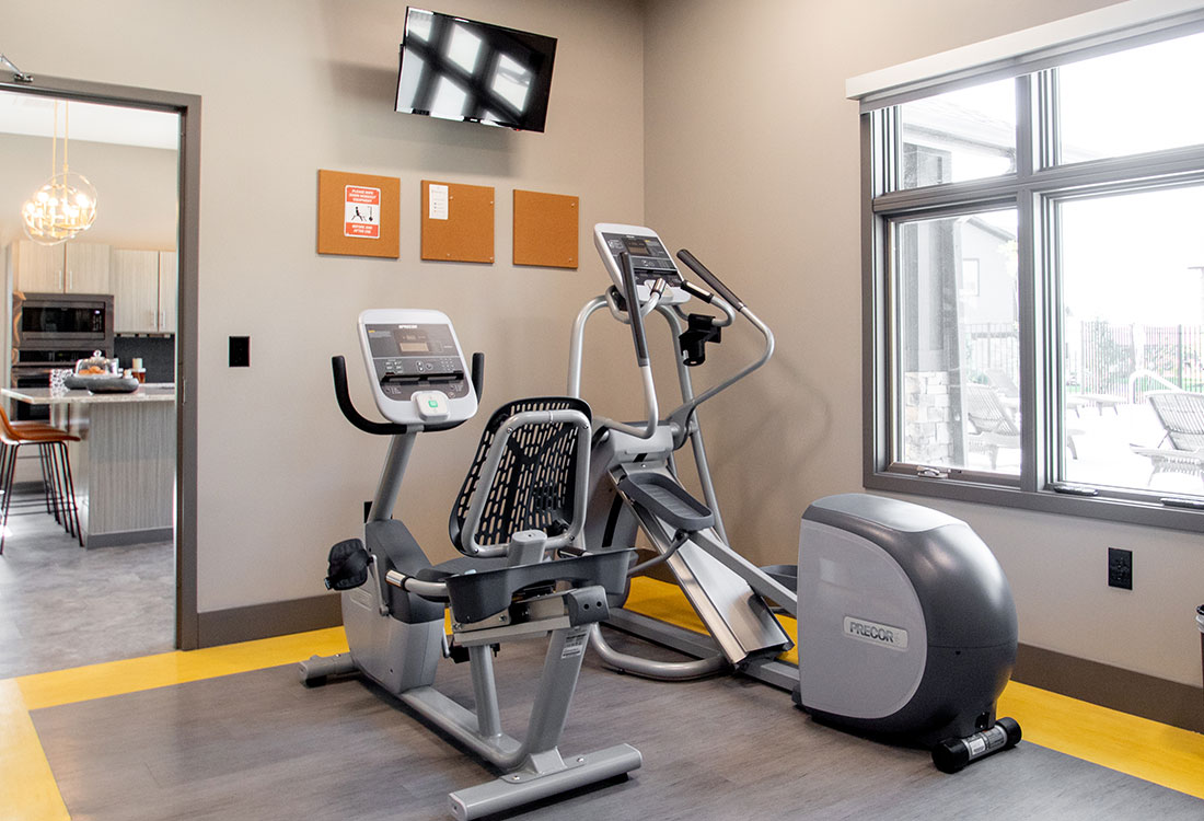 Fitness Center with Cardio Equipment at Ravello 192 in Elkhorn, Nebraska