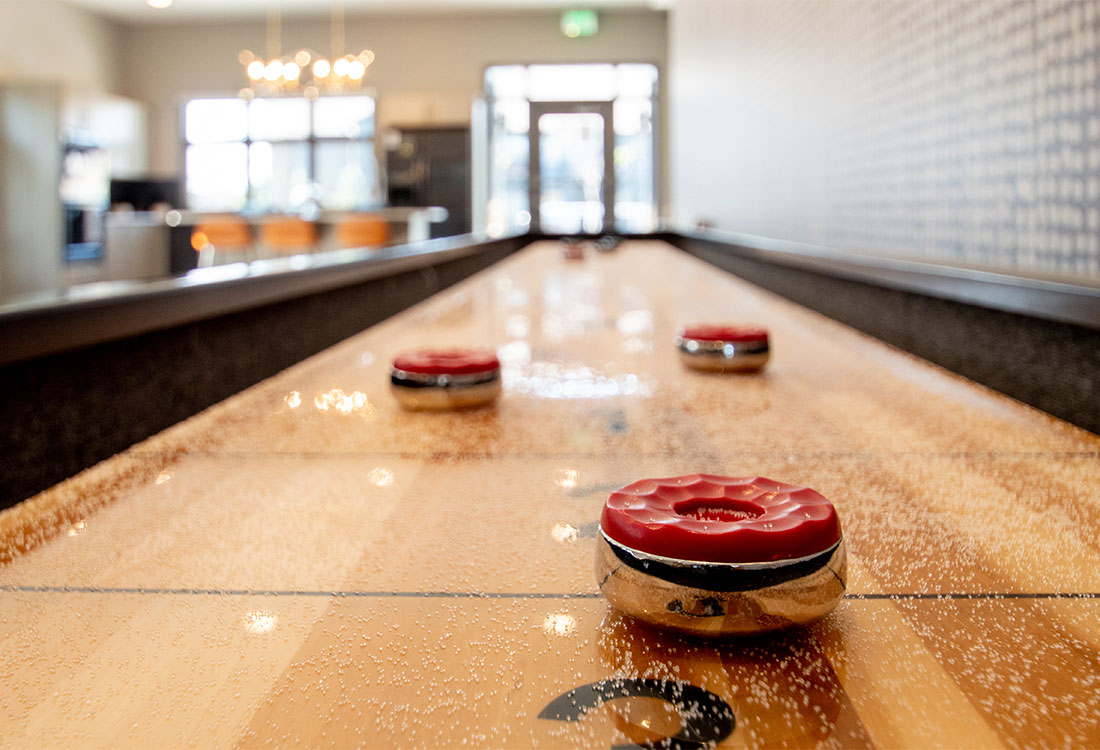 Clubhouse with Shuffleboard at Ravello 192 in Elkhorn, Nebraska