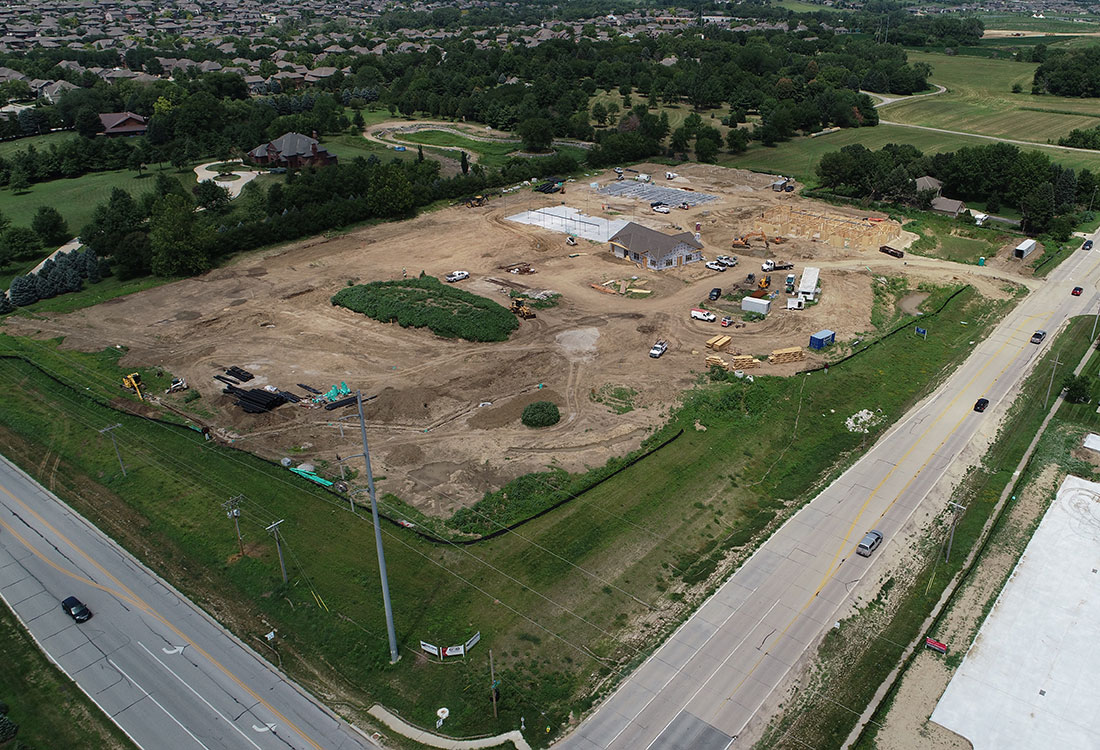 Aerial Views of the Ravello 192 Townhome Development in Elkhorn, NE.