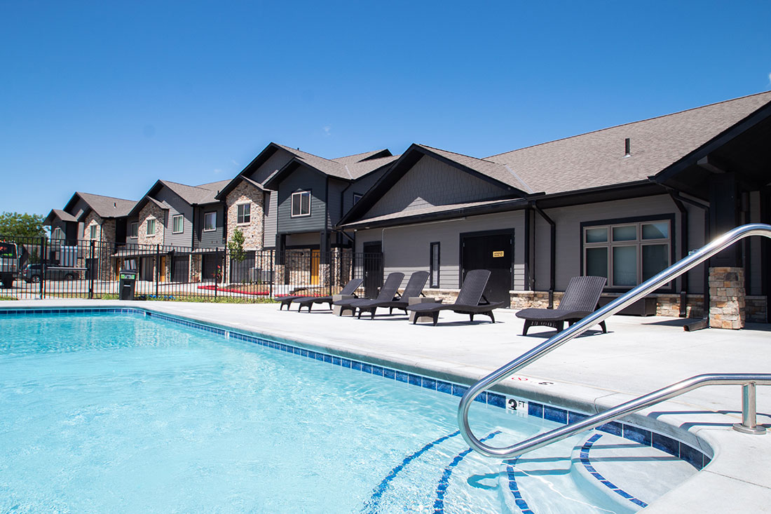 Beautiful Outdoor Pool Behind Clubhouse at Ravello 192 in Elkhorn, Nebraska