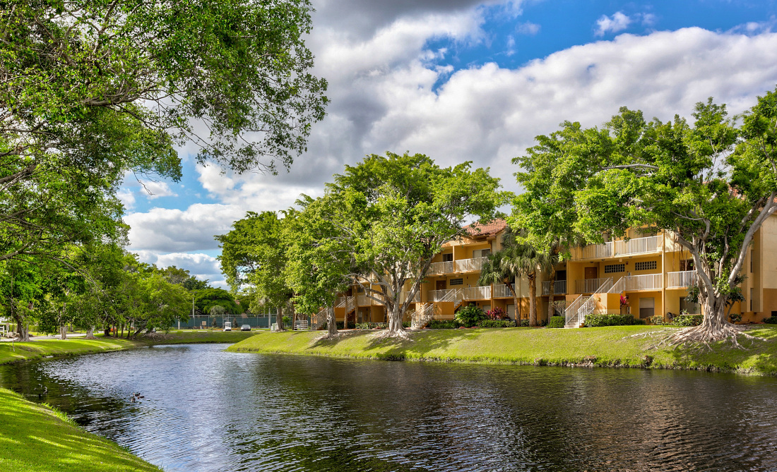 Lake side  at Reflections of Boca Del Mar Apartments in Boca Raton, Florida