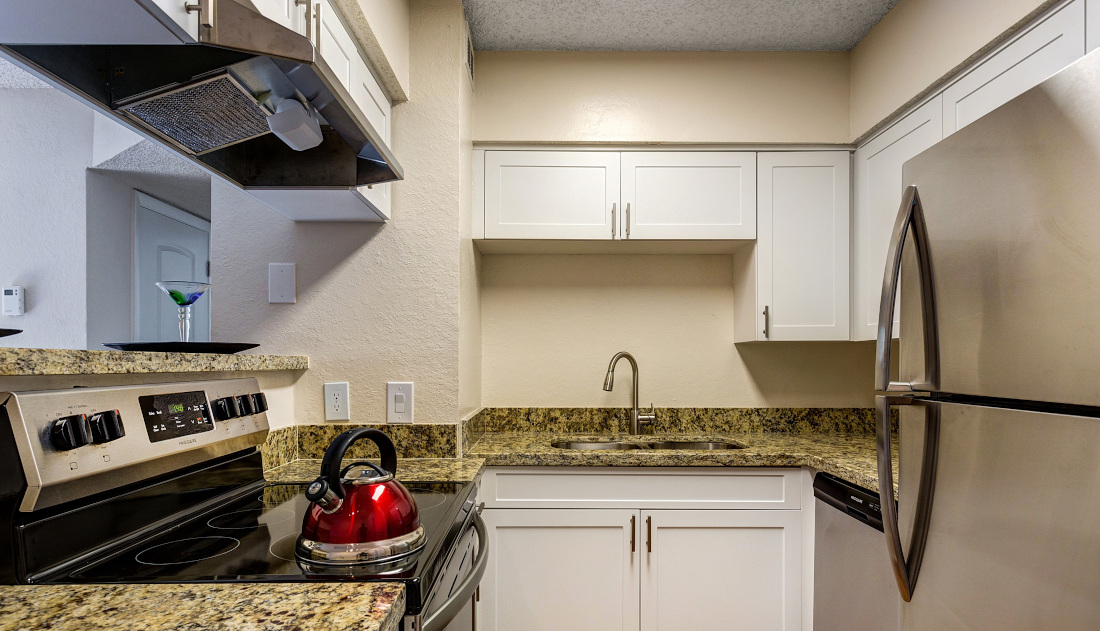 Fully Equipped Kitchen at Reflections of Boca Del Mar Apartments in Boca Raton, Florida