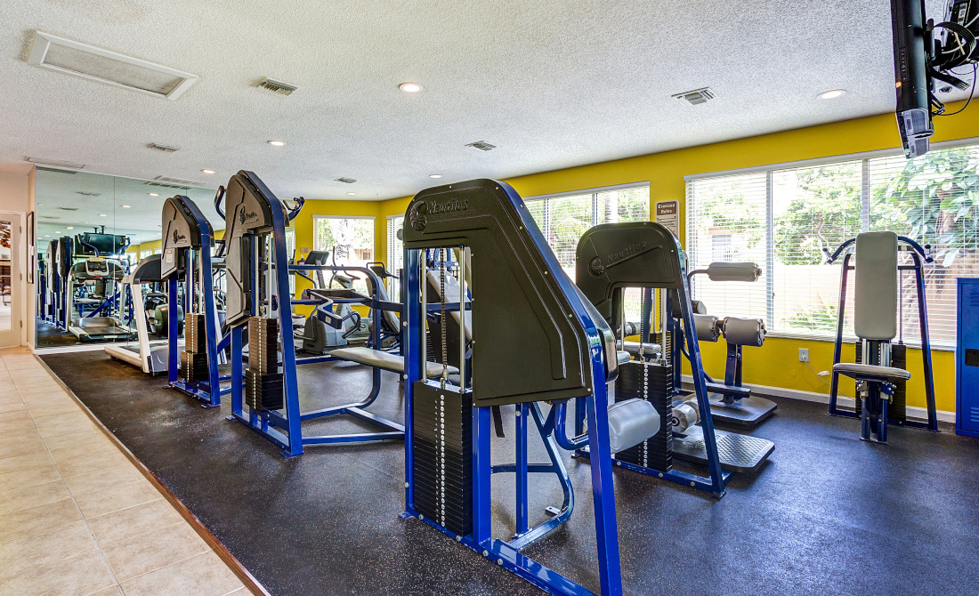State of the Art Fitness Center at Reflections of Boca Del Mar Apartments in Boca Raton, Florida