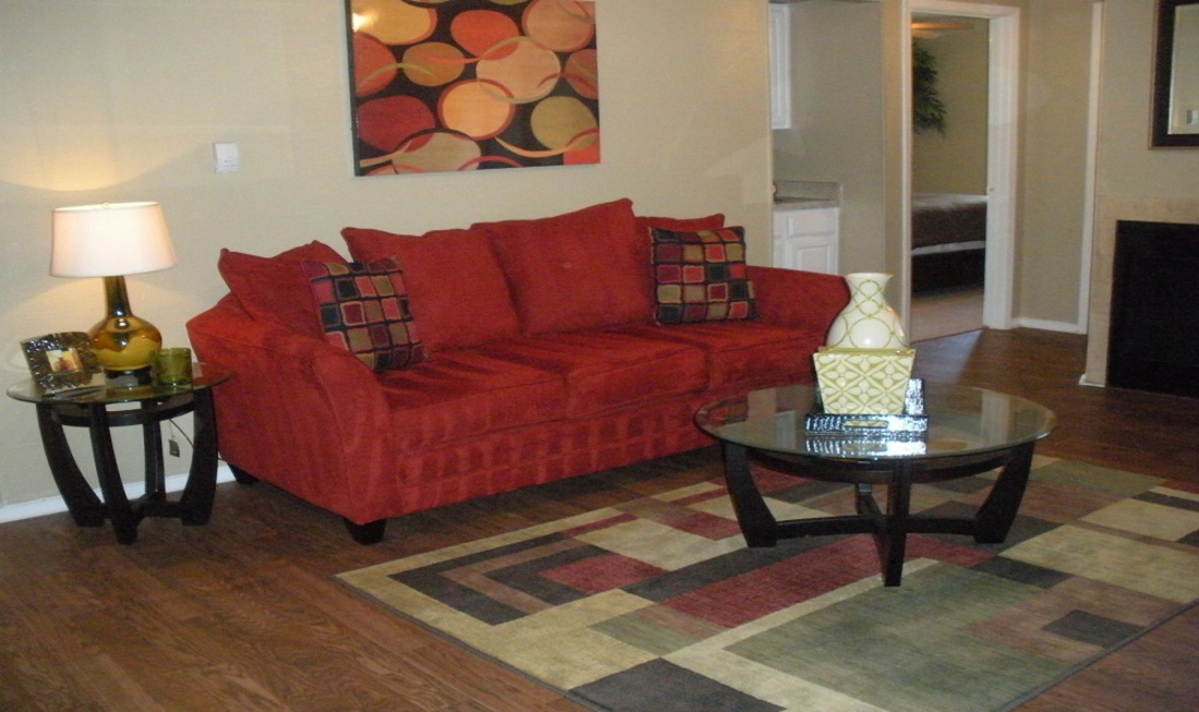 Comfortable Modern Living Room at Regal Crossing Apartments in Dallas, Texas
