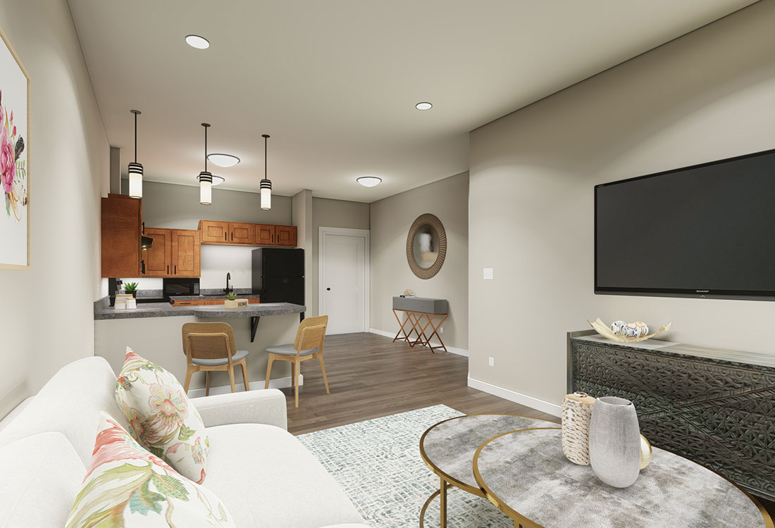 Breakfast Bars & Plank Flooring at the Residence of Arbor Grove - Apartments in Arlington, TX