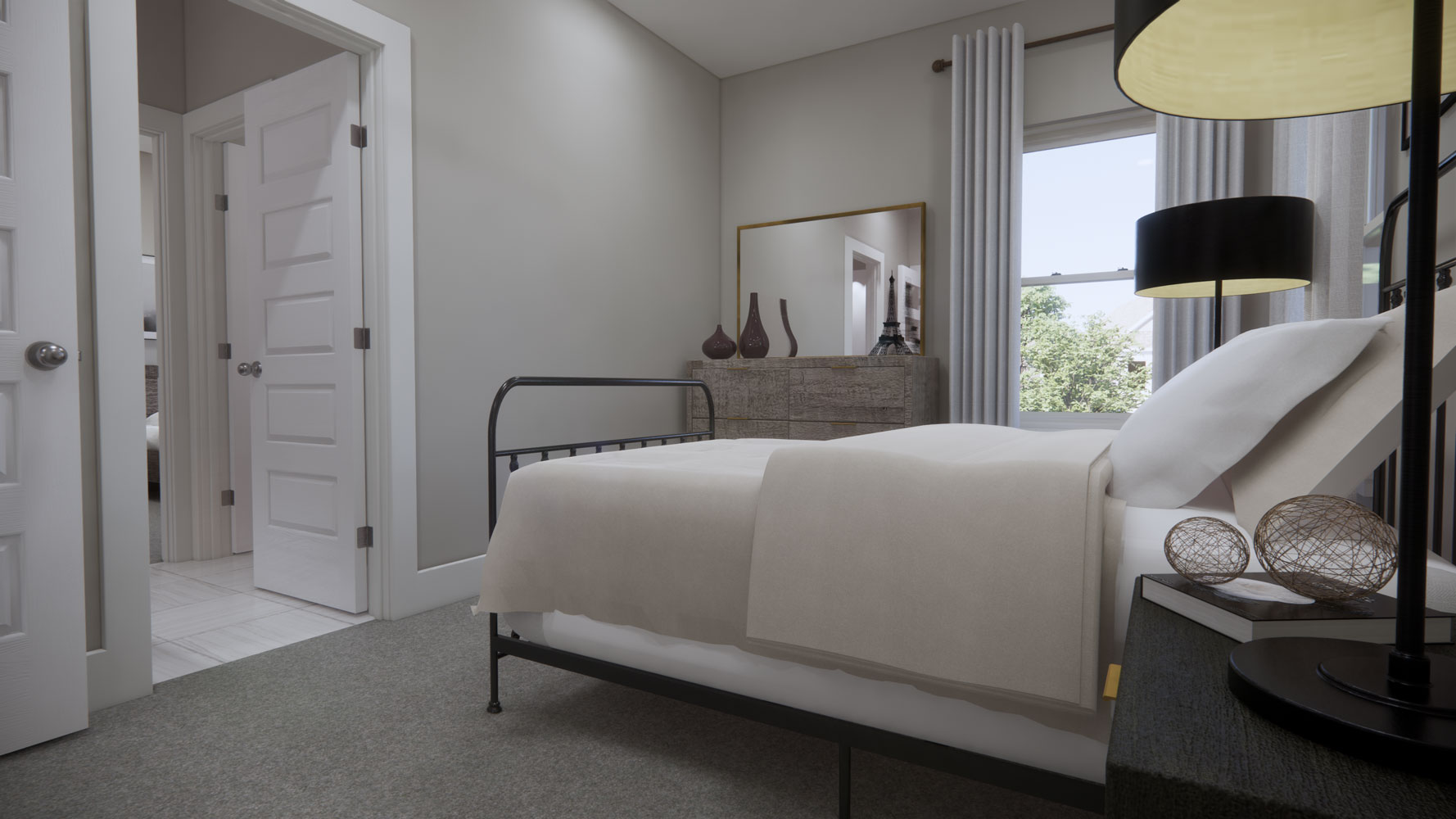 Bedrooms with Attached Bathrooms at Echelon at Reverchon Bluffs in Dallas, Texas