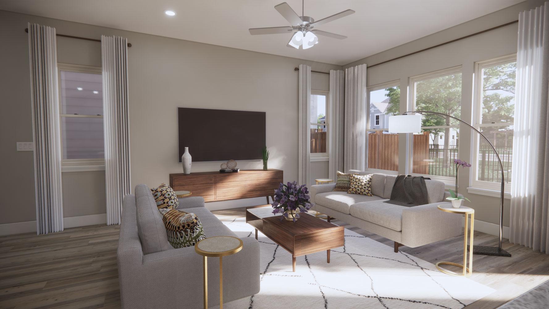 Living Area at Echelon at Reverchon Bluffs in Dallas, Texas