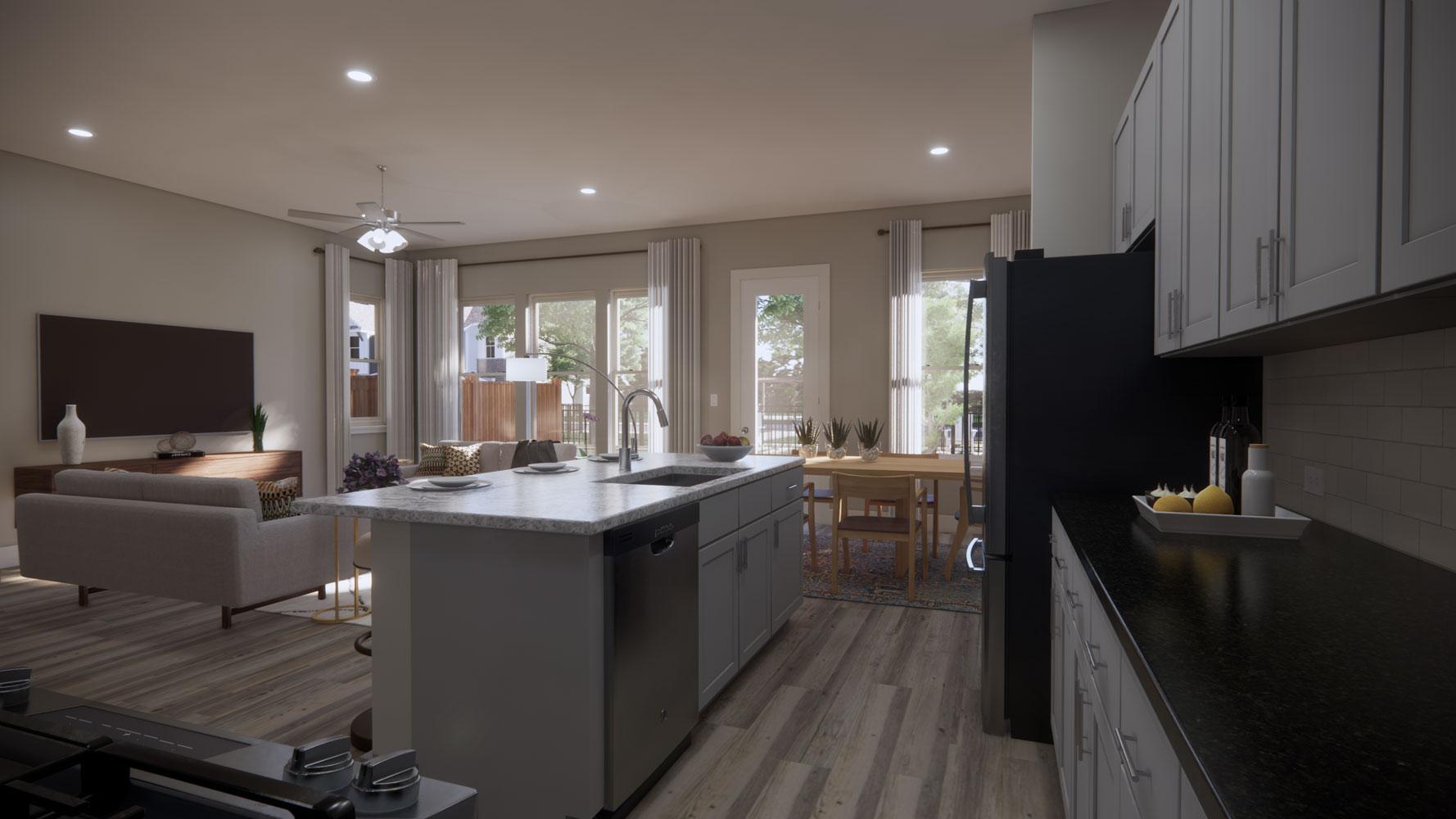 Upgraded Kitchen at Echelon at Reverchon Bluffs in Dallas, Texas