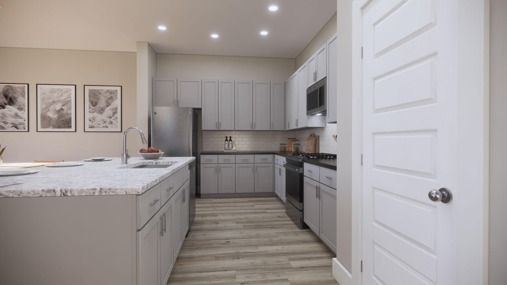 Kitchen with Storage Space at Echelon at Reverchon Bluffs in Dallas, Texas