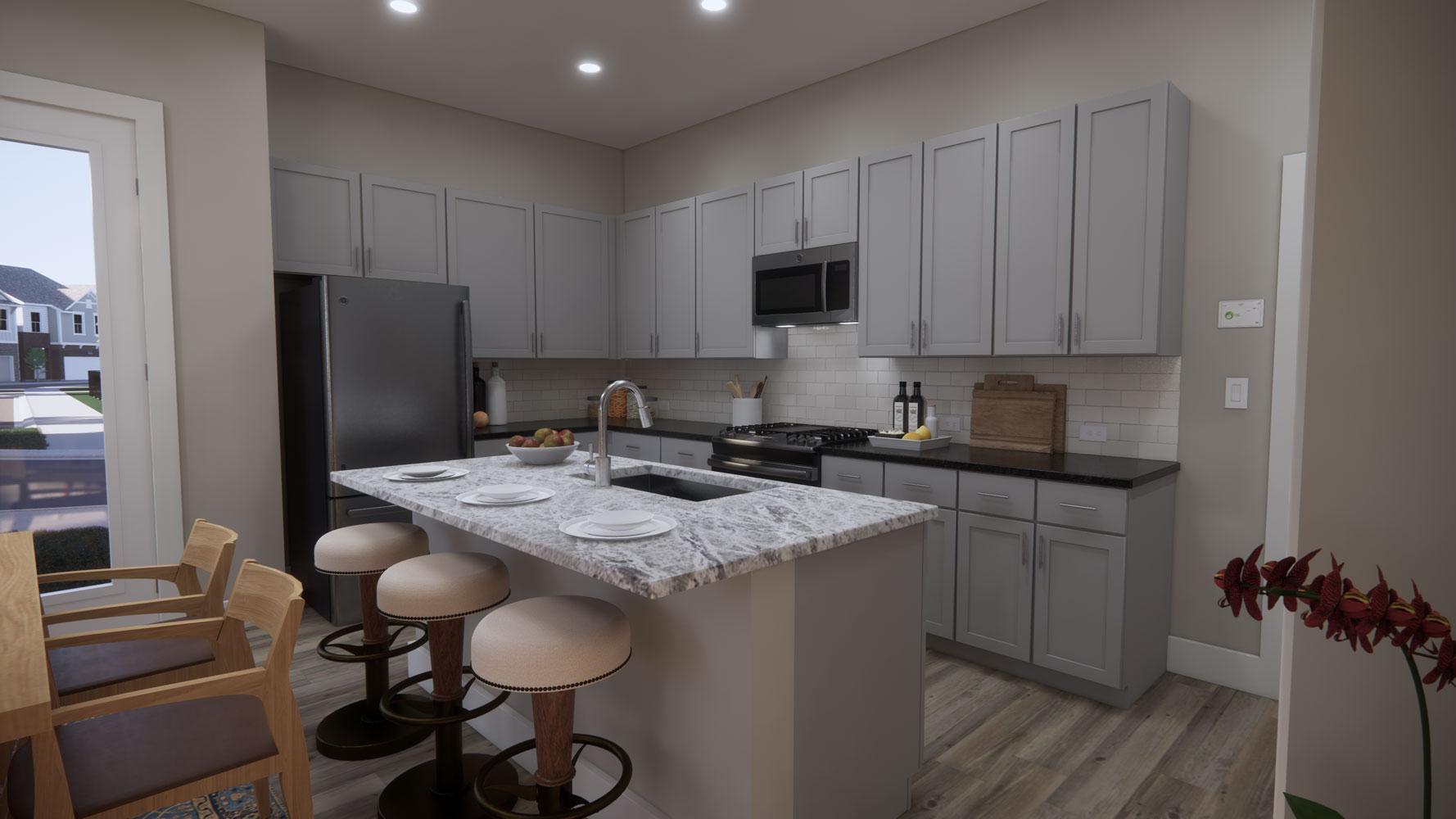Modern Kitchen at Echelon at Reverchon Bluffs in Dallas, Texas