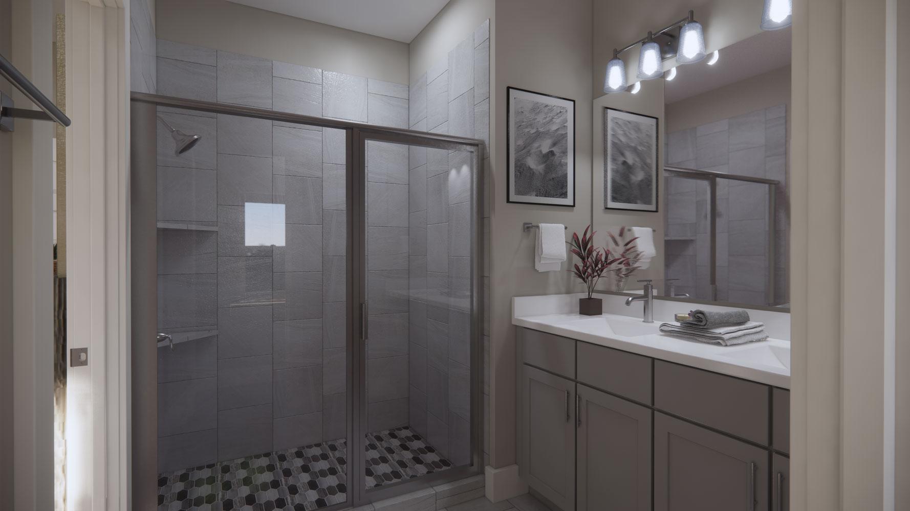 Walk-In Shower at Echelon at Reverchon Bluffs in Dallas, Texas