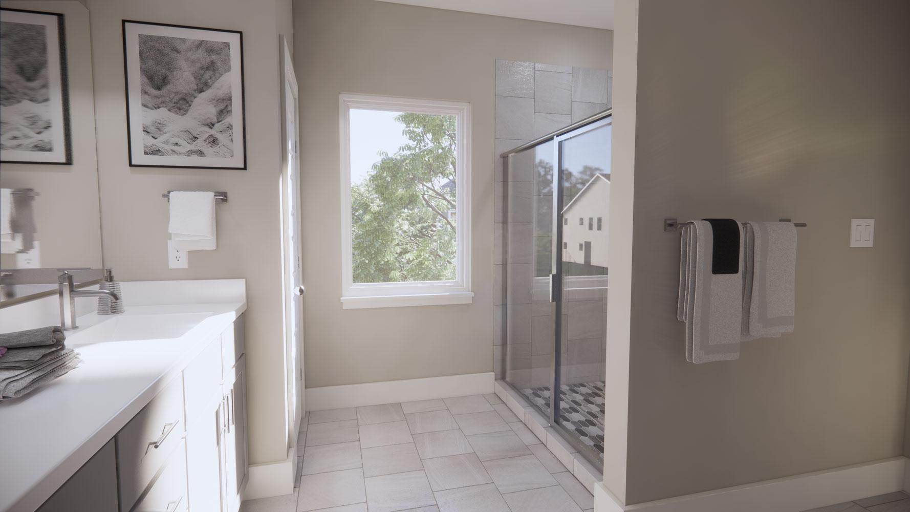 Bathroom Area at Echelon at Reverchon Bluffs in Dallas, Texas