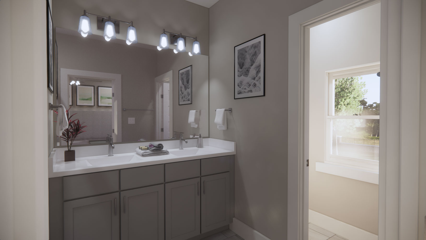 Ample Bathroom Lighting at Echelon at Reverchon Bluffs in Dallas, Texas