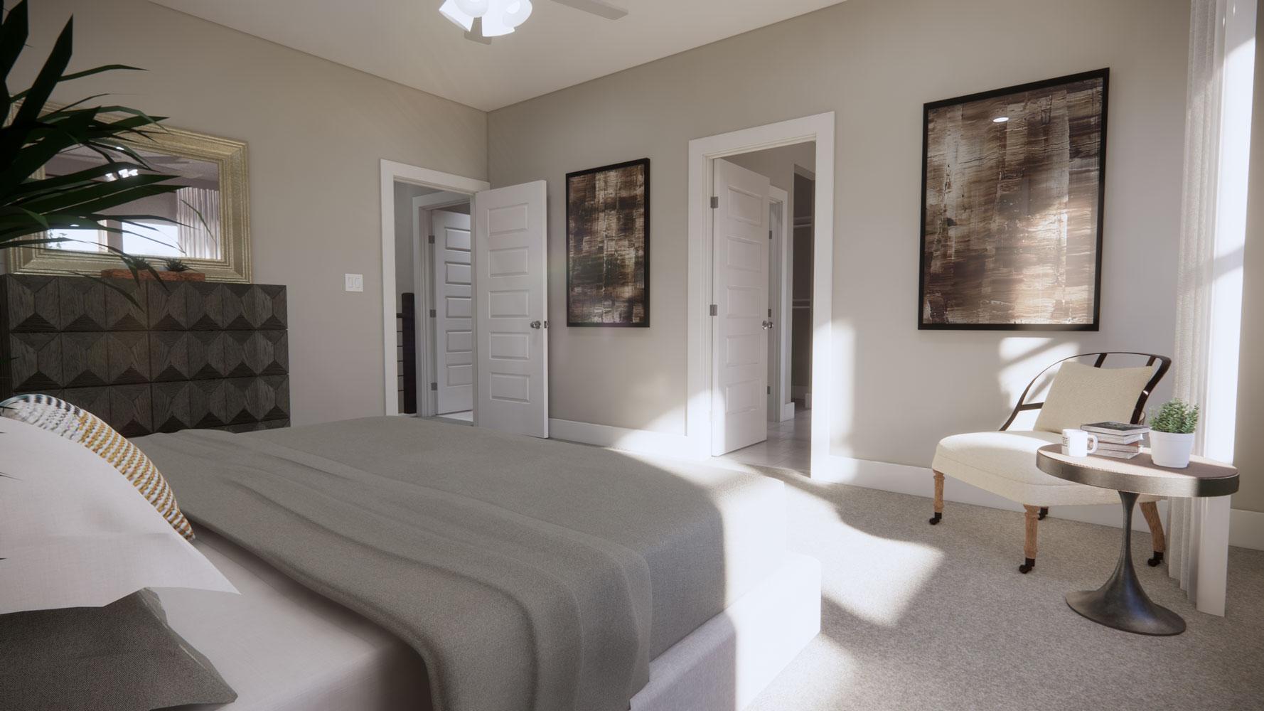 Stylish Bedrooms at Echelon at Reverchon Bluffs in Dallas, Texas
