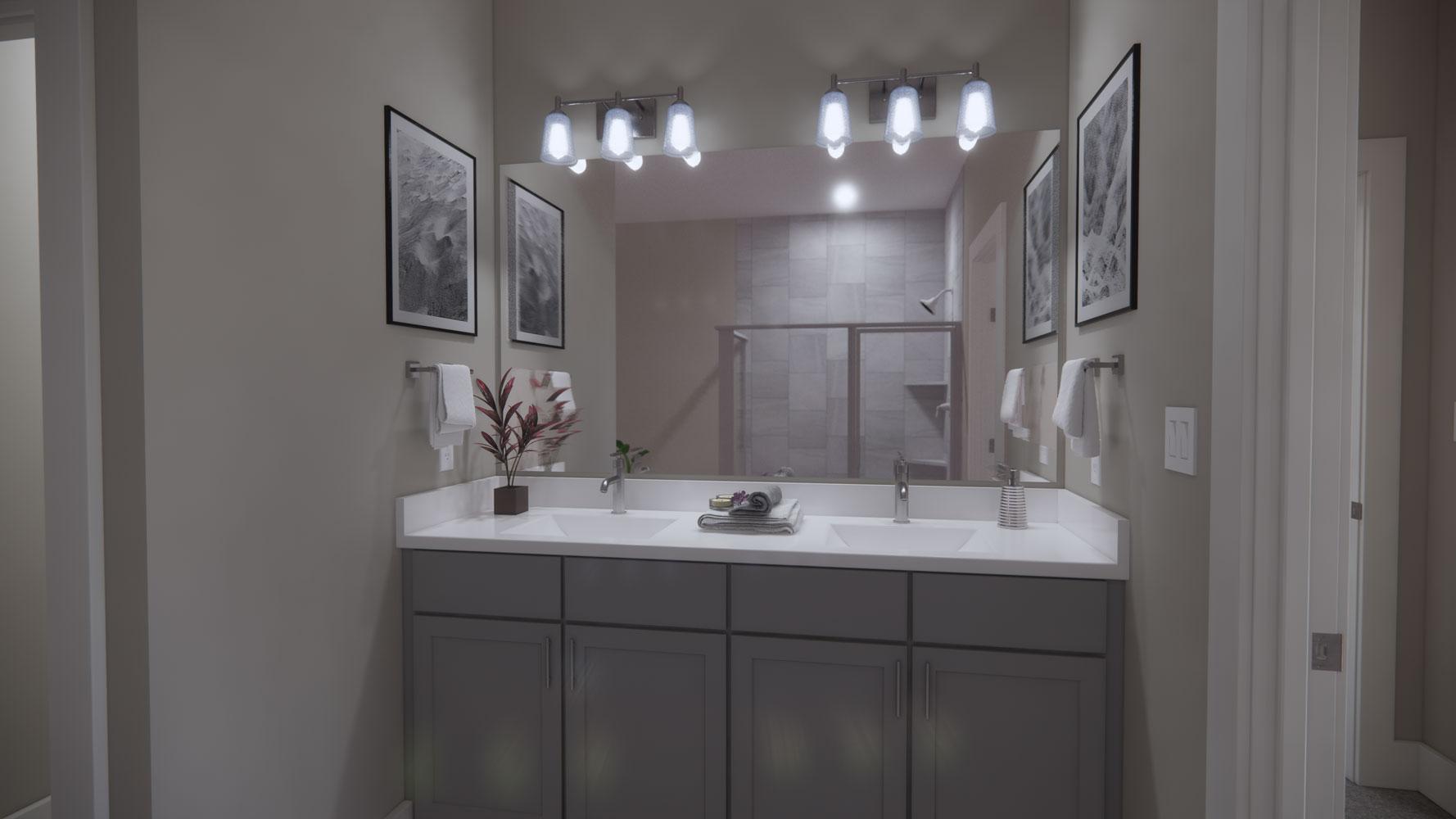 Luxury Bathroom Furnishings at Echelon at Reverchon Bluffs in Dallas, Texas