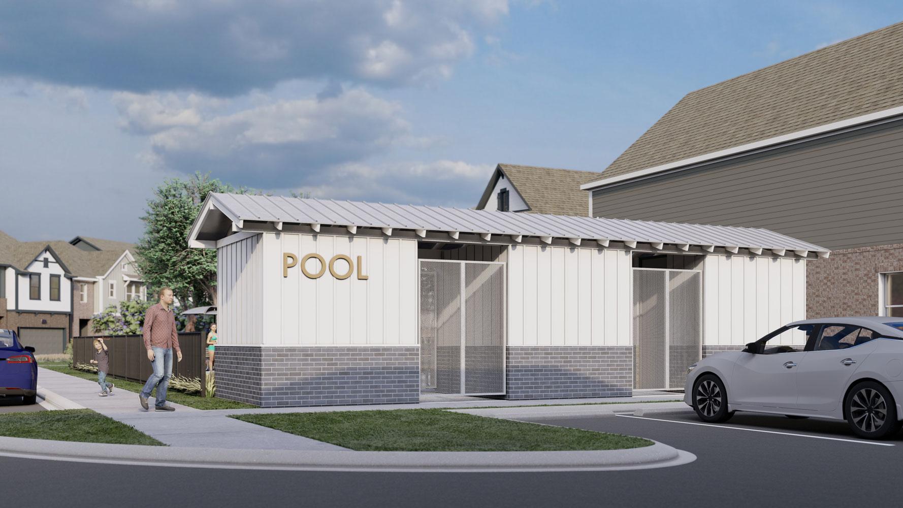 Pool House at Echelon at Reverchon Bluffs in Dallas, Texas