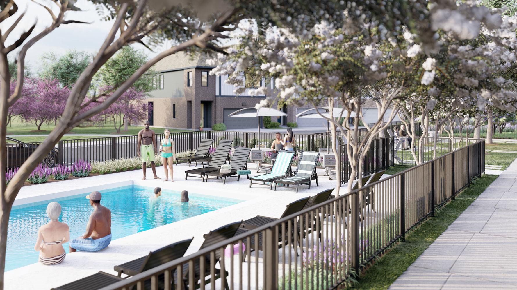 Resort-Style Pool at Echelon at Reverchon Bluffs in Dallas, Texas