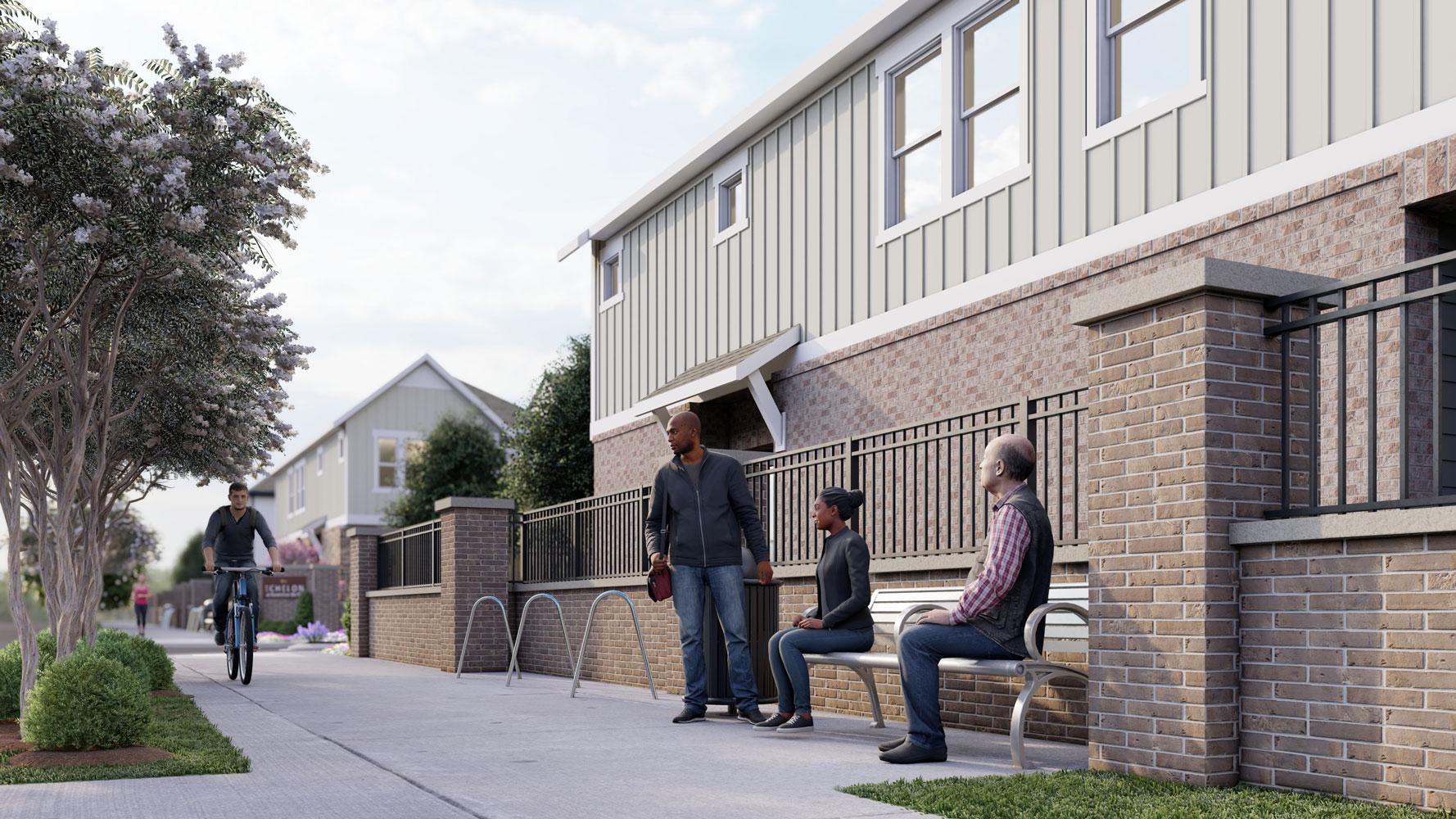 Sidewalk Benches at Echelon at Reverchon Bluffs in Dallas, Texas