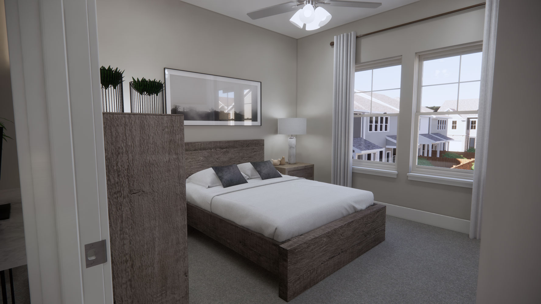 Bedrooms with Windows at Echelon at Reverchon Bluffs in Dallas, Texas