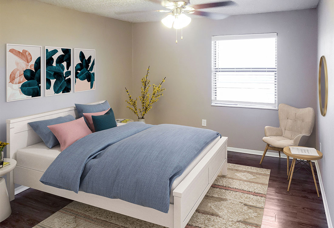 Spacious Bedrooms with Plank Flooring at Riatta Ranch Apartments in Abilene, TX