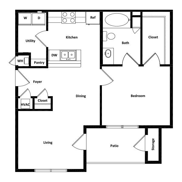 Rio Vista Apartment Homes - Floorplan - 1 Bed