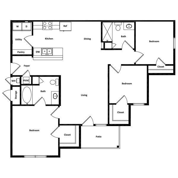 Rio Vista Apartment Homes - Floorplan - 3 Beds
