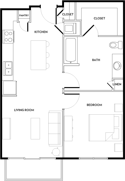 Rivera Apartments - Floorplan - A2B