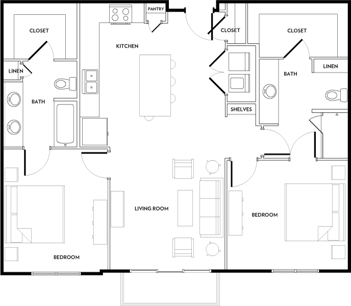Rivera Apartments - Floorplan - B1A